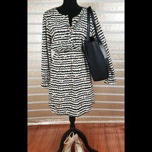 Blue Rain Dove Patterned Black/White Dress